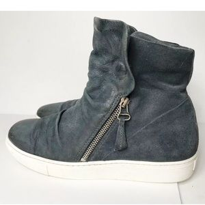 Miz Mooz 11 Blue Leather High Top Sneakers Zippers